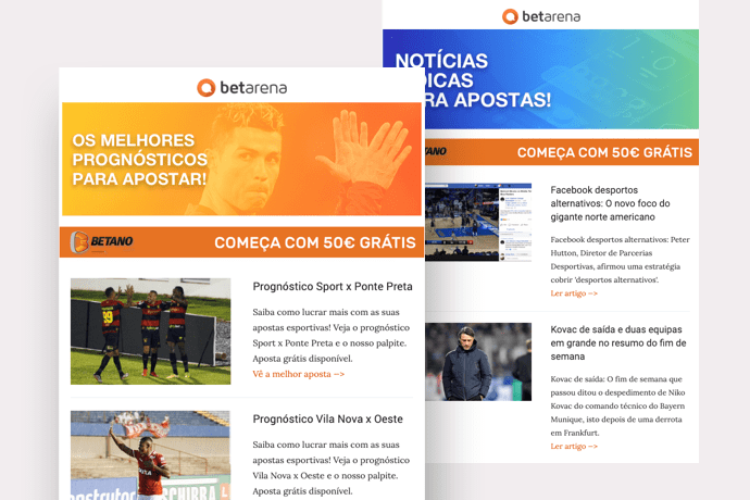 newsletter do Betarena